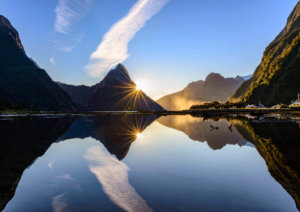 Milford Sound's iconic reflections at sunset New Zealand photo by Nico Babot