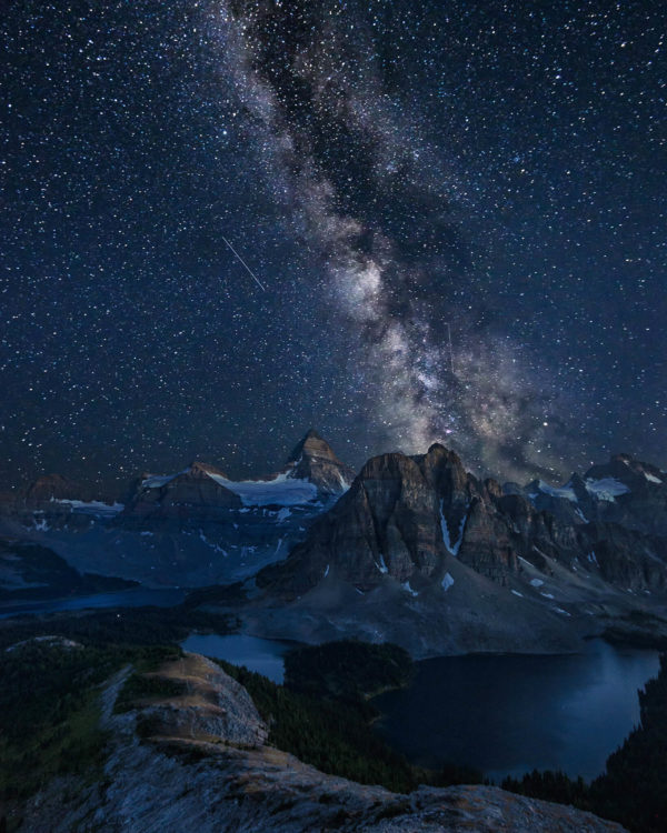 Milky way rising behind Mount Assiniboine Canada