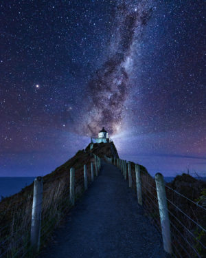 Milkyway over the Nugget point lighthouse New Zealand