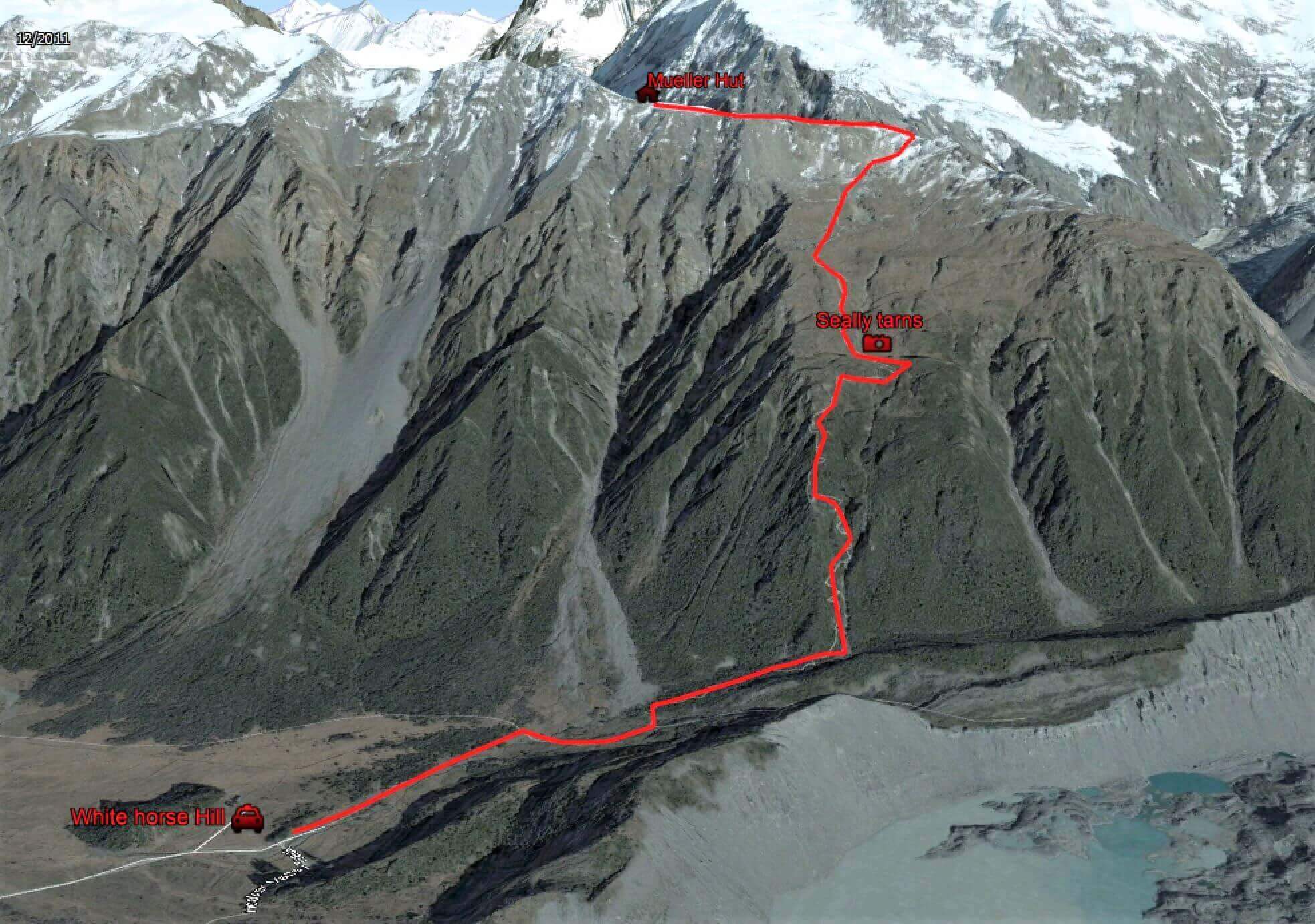 Photography guide Mueller hut Elevation Map