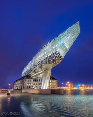 Antwerp port house at blue hour - Photo by Nico Babot